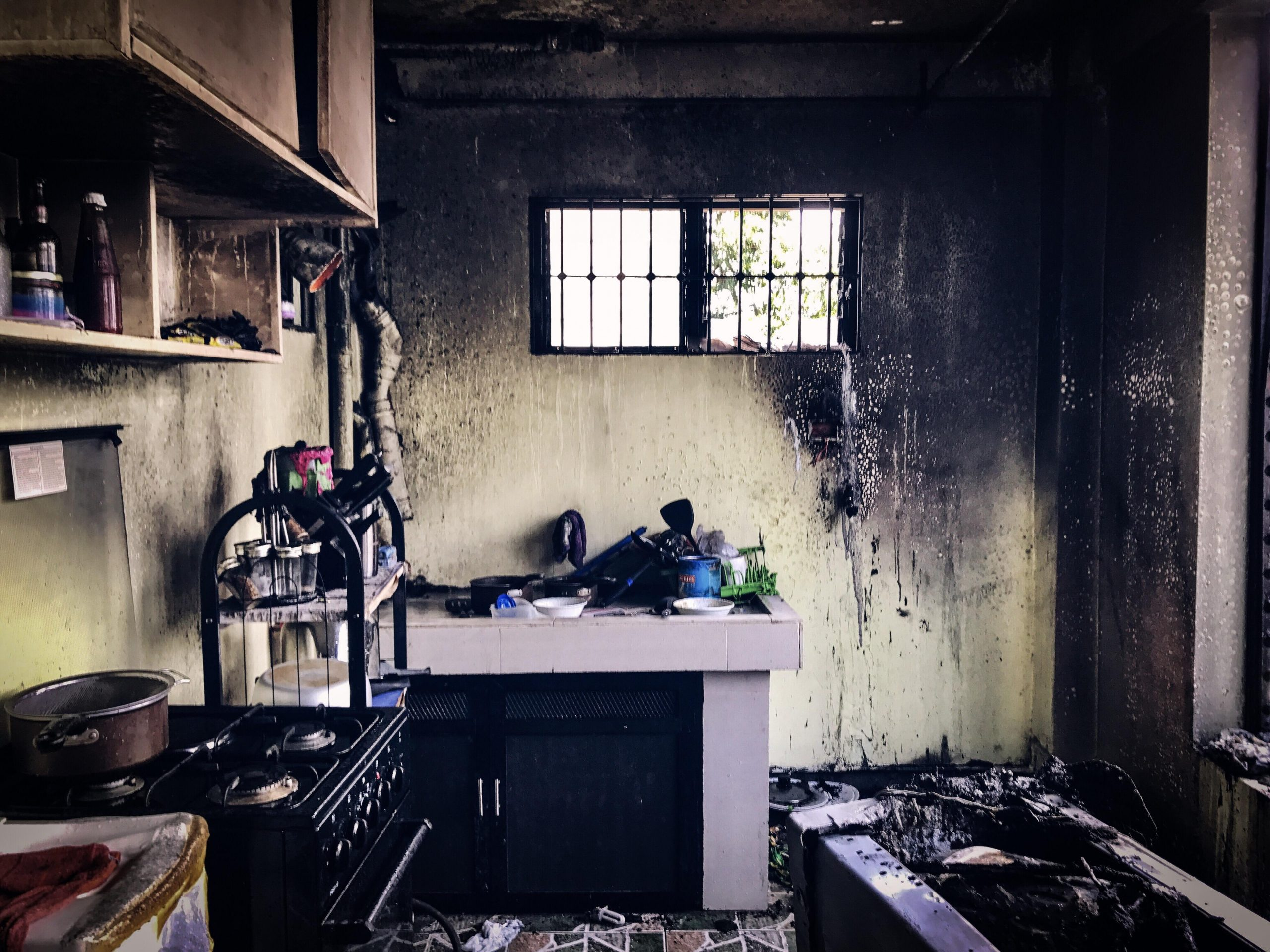 kitchen walls covered in soot after a winter fire