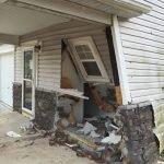car crash into house ri