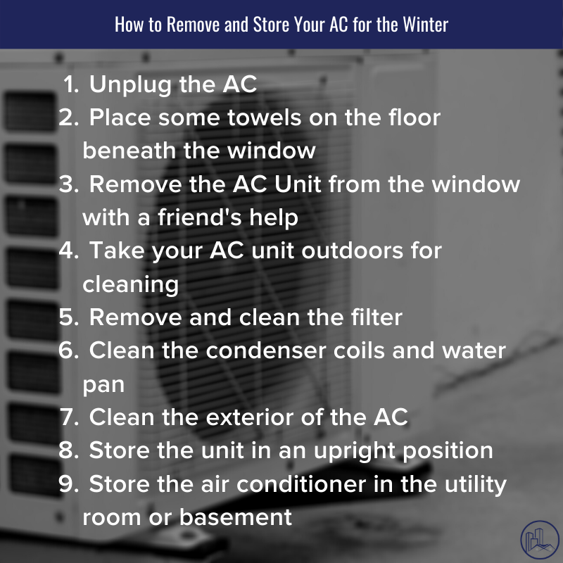 remove and store your ac to prepare for fall